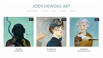 Jody Hewgill Art Website home page